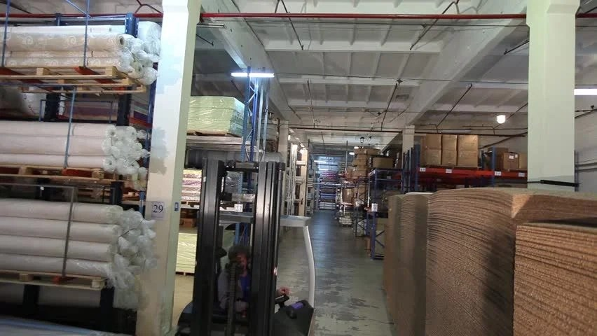 Stock Video Of The Warehouse Of Raw Textiles Forklifts