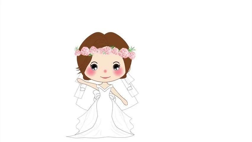 Cute Wedding Cartoon Wallpaper Girl Wedding Cute Woman In Stock Footage Video 100