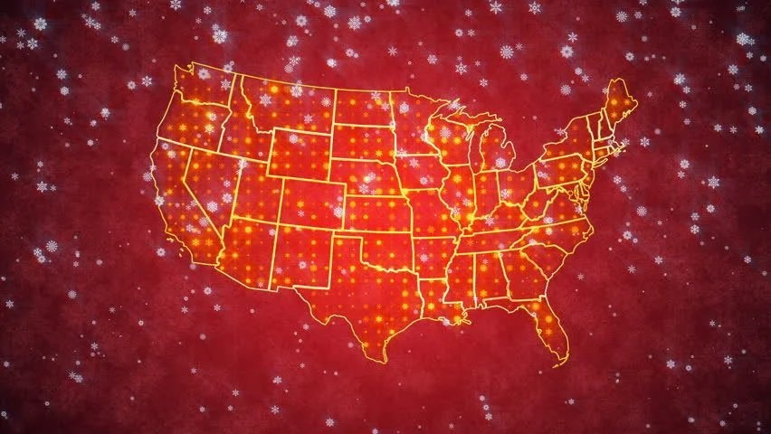 Red Snowy Looped Background Map Stock Footage Video (100