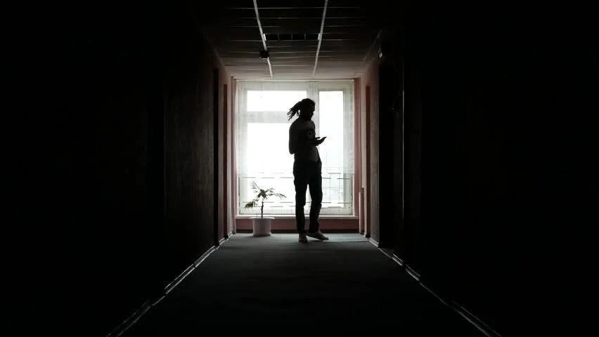 Alone Girl Wallpaper Hd Download Man Walking Down Dark Hallway Stock Footage Video 8582776