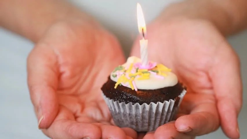 Female Hands Holding a Birthday Stock Footage Video (100 Royalty