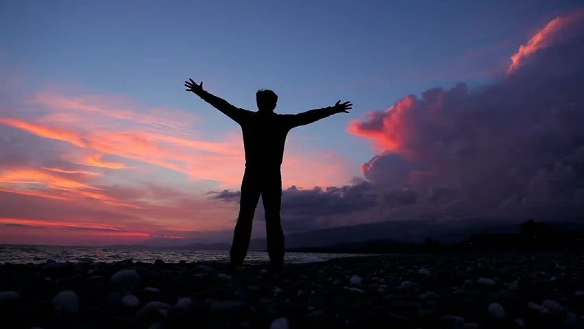 Lonely Girl Walking Wallpaper Success Pose By Man On Top Of Hill Lifting Hands Toward