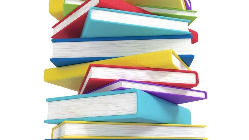 Pile of Books, Colorful and Stock Footage Video (100 Royalty-free