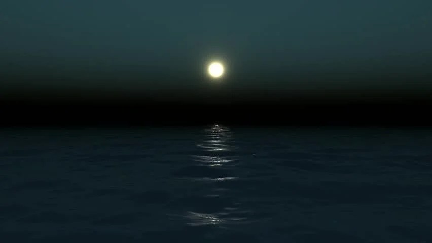 Good Evening Hd Wallpaper 3d Night Sea With Moon Stock Footage Video 246454 Shutterstock