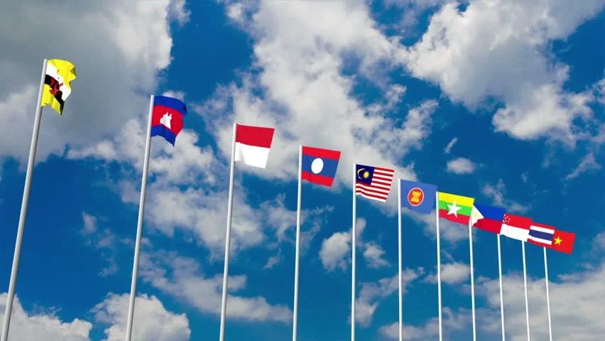 3d Home Wallpaper Malaysia Aec Or Asean Flag Waving Atop Among Southeast Asia Nation