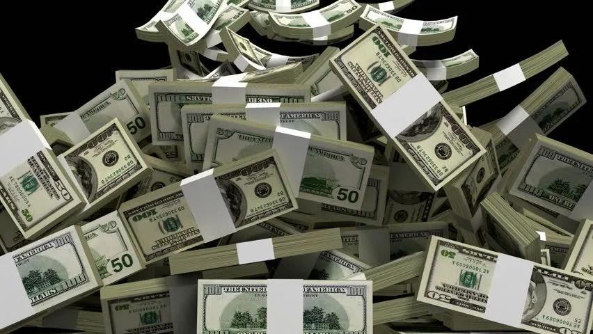 Falling Money 3d Wallpaper Money Rain Of Dollar Bills On The Green Background Stock