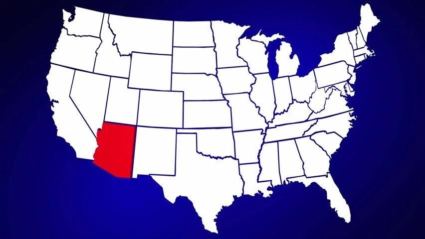 Arizona AZ United States of America 3d Animated State Map
