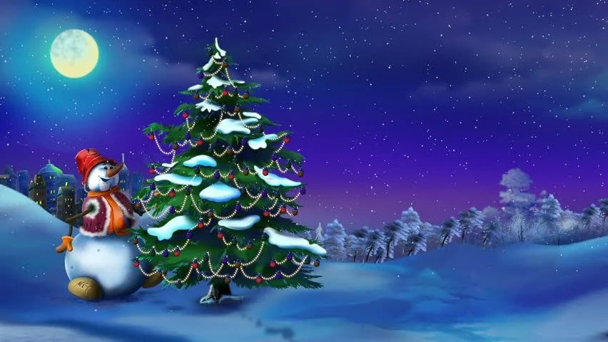 3d Snowy Cottage Animated Wallpaper Free Download Snowman Near A Christmas Tree In A Fairy Tale New Year