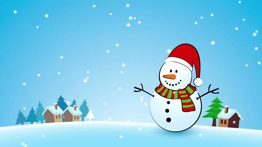 Falling Snow Live Wallpaper For Pc Merry Christmas Background With Snowman Stock Footage