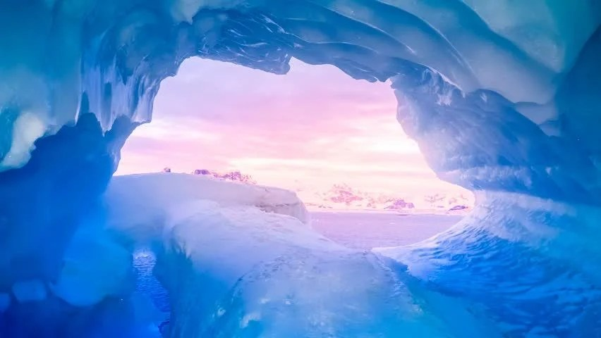 Falling Water Wallpaper Blue Ice Cave Window View In Antarctica Flooded With Soft