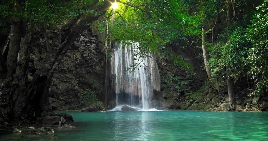 Serene Wallpapers Large Fall Tropical Paradise Nature Background Idyllic Waterfall