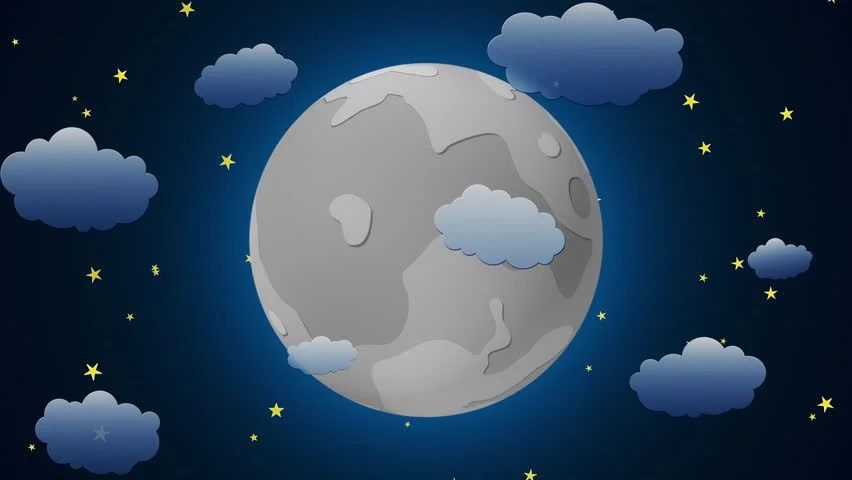 Earth And Moon 3d Wallpaper Moon Cartoon With Clouds Loopable 4k Stock Footage Video