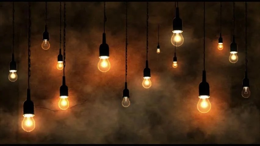 Fall Ceiling Wallpaper Download Seven Lit Light Bulbs Swing Stock Footage Video 3245014