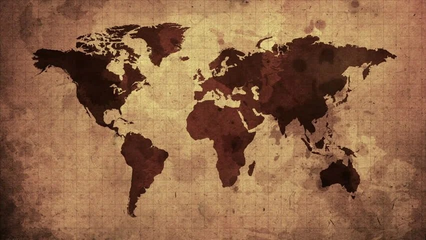Vintage Map of the World Stock Footage Video (100 Royalty-free