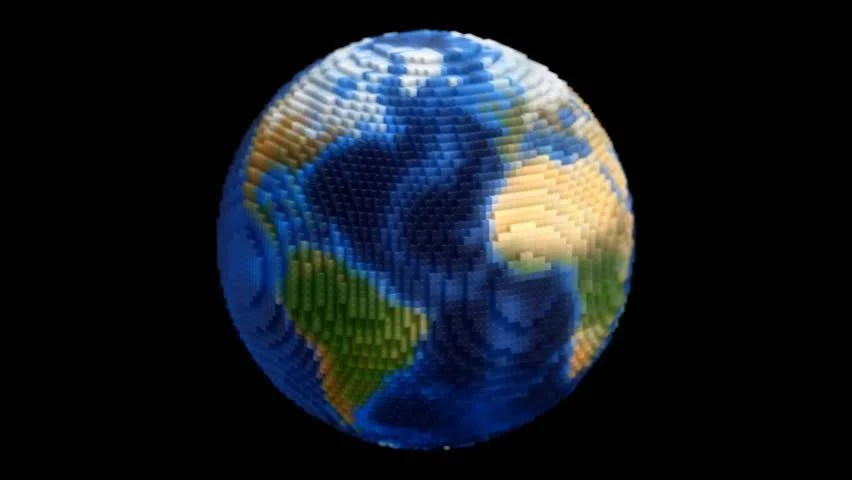 3d Cube Wallpaper Medium Voxel Planet Earth Globe Spin With Alpha 3d Pixel