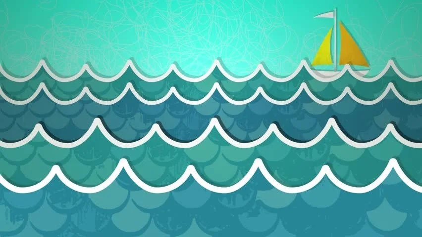 Dynamic Graphic Animation Using Paper Stock Footage Video (100 - ocean waves animations