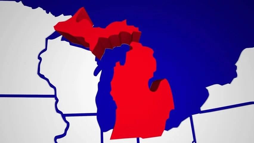 Michigan MI Animated State Map USA Zoom Close Up