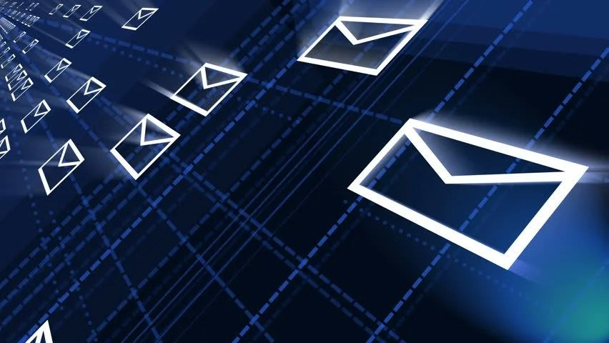 Stock video of 4k,background of the envelope e-mail,flying mails