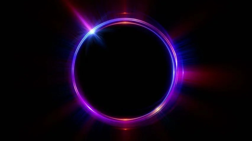 3d Colour Wallpaper Free Download Abstract Circle Rotating Rings With Light Rays And Glow