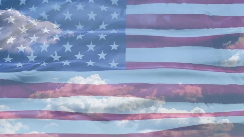hd00203D waving United States of America flag background in blue