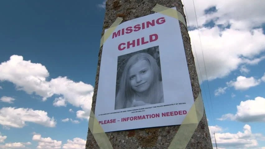 Stock Video Clip of Missing person poster with photo of little - lost person poster