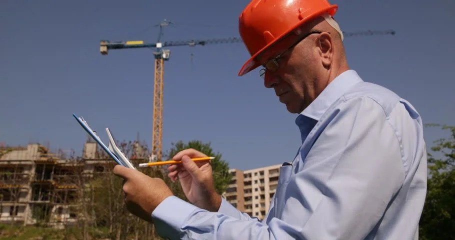 Building Engineer Writing Plans Checking Stock Footage Video (100