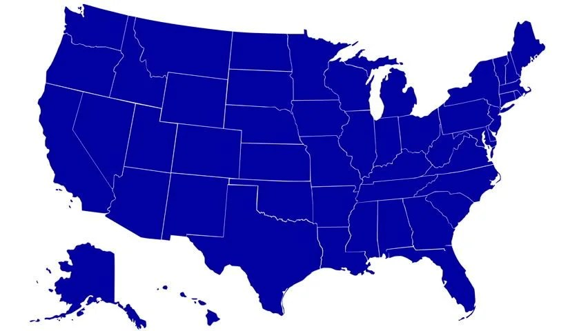 State of Florida map reveals from the USA map silhouette animation