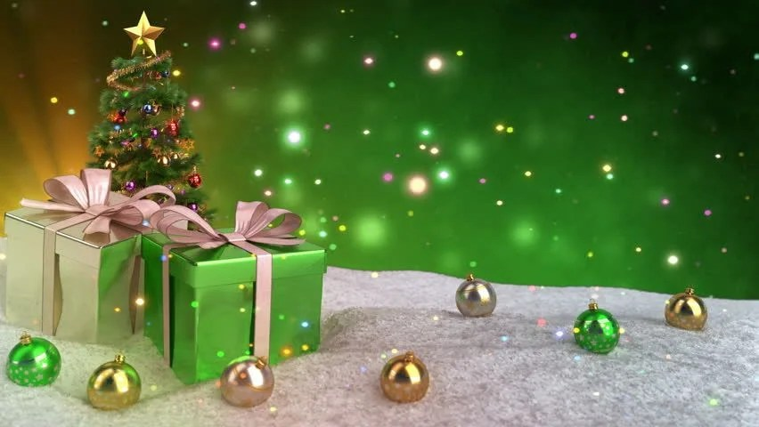 Stock video of green christmas theme with gifts, snow 21016555
