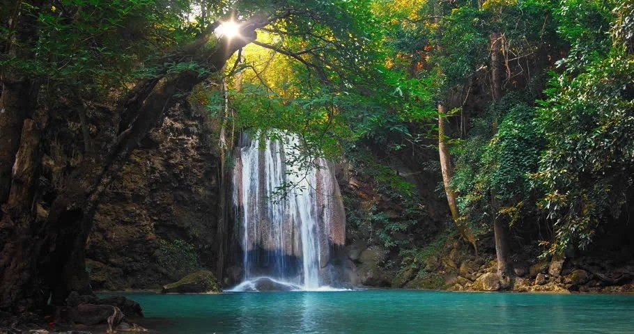 3d Fall Wallpaper Sunshine And Beautiful Waterfall Flows To Wild Pond In