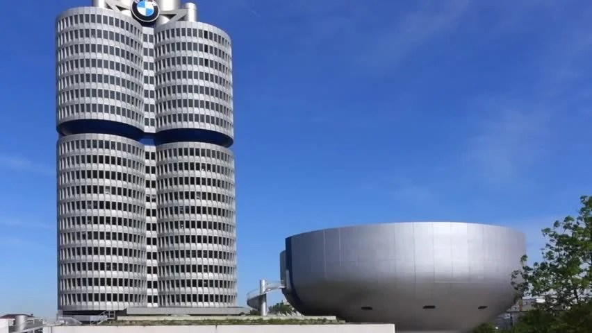 Stock video of bmw-museum and bmw headquarters, munich, bavaria - bmw corporate office