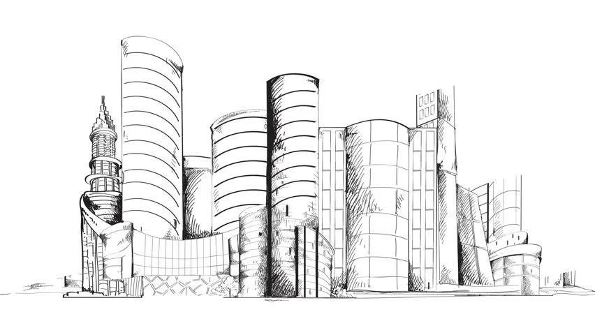 Modern Urban Sketch City Center Stock Footage Video (100 Royalty
