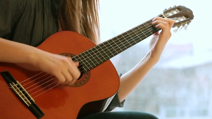 Sad Boy And Girl Full Hd Wallpaper Teen Girl Playing Guitar At Home Stock Footage Video