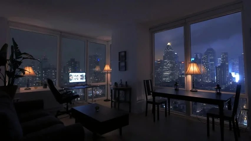 One Person Inside Apartment Loft Home. Urban Night Lights ...