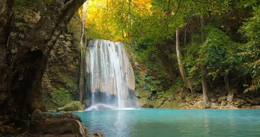 Colorful Fall Scene Wallpaper Tranquil And Serene Scene Of Waterfall Falling In Wild