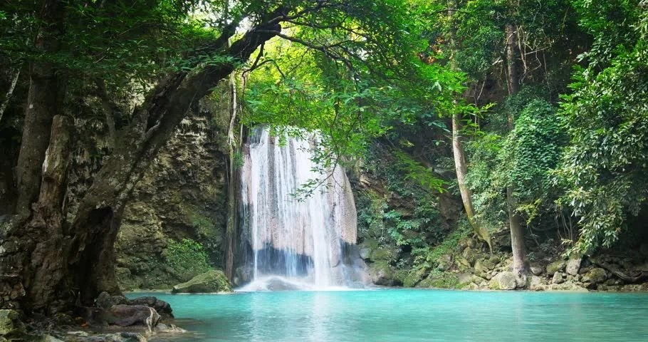 Serene Wallpapers Large Fall Tranquil And Serene Scene Of Waterfall Falling In Wild