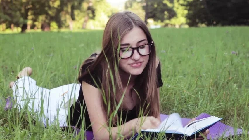 Cute Girl Glasses Wallpaper Stock Video Of Beautiful Girl Reading A Book In 11192876