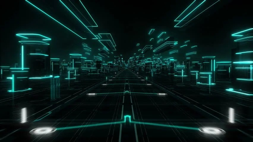 Hologram Wallpaper Hd Futuristic Abstract Background Cyan Loopable Stock