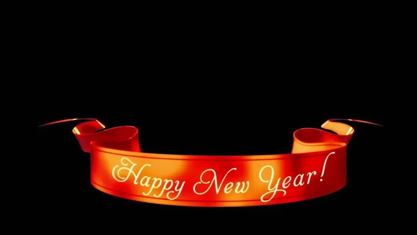 Happy New Year Ribbon Isolated Stock Footage Video (100 Royalty