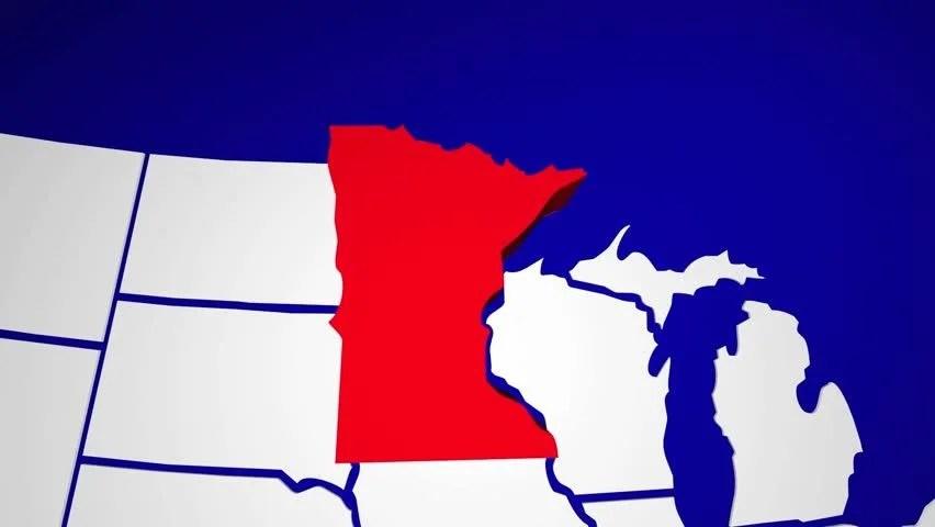 Minnesota MN United States of America 3d Animated\u2026 - Royalty Free