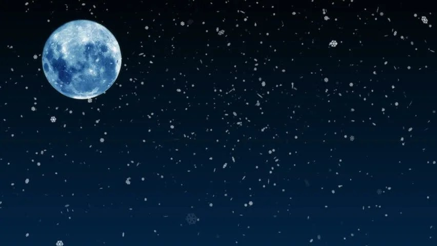 Wallpaper Phone Falling Snowflakes The Full Moon Going Up With A Star Field As A Background