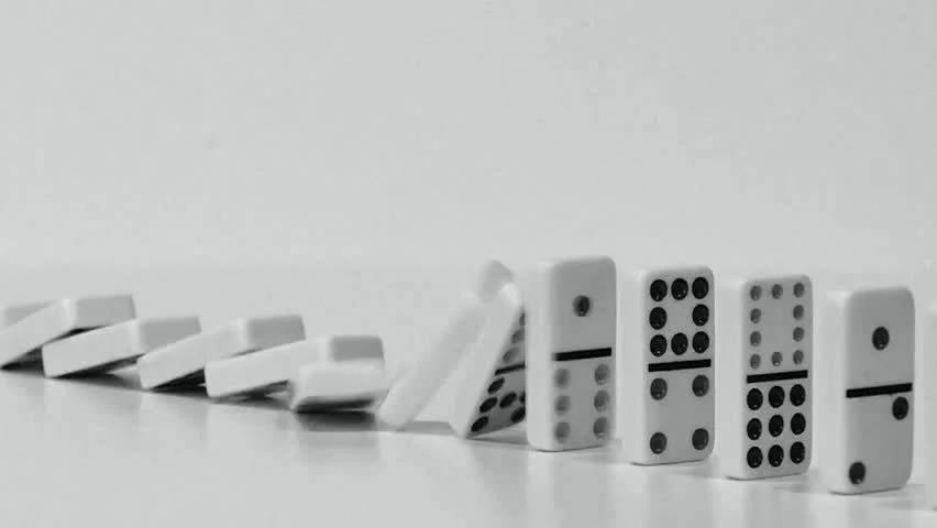 Domino Effect - White Dominoes Stock Footage Video (100 Royalty