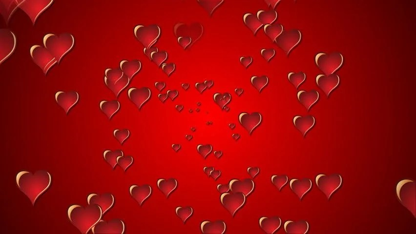 Happy Birthday Hd 3d Wallpaper Red 3d Hearts Exploding Onto The Screen From A Central