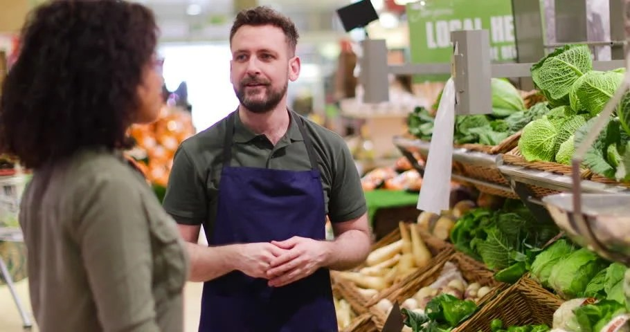 Shop Assistant in Grocery Store Stock Footage Video (100 Royalty