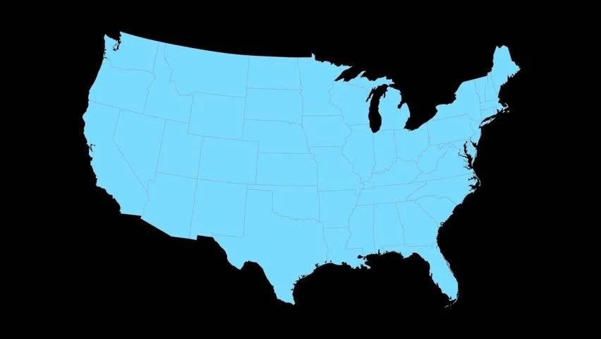 hd0008South Carolina animated map video, starts with light blue USA