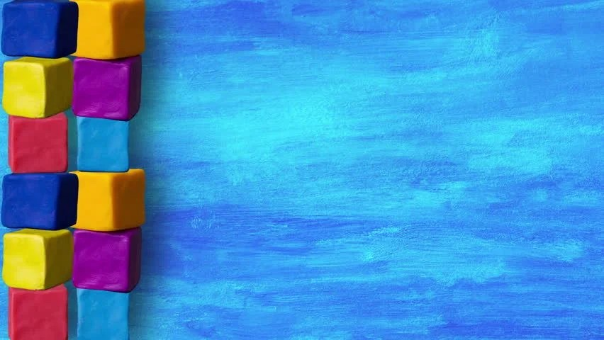 Kids Cubes On Blue Background, Stock Footage Video (100 Royalty-free)  6366266 Shutterstock