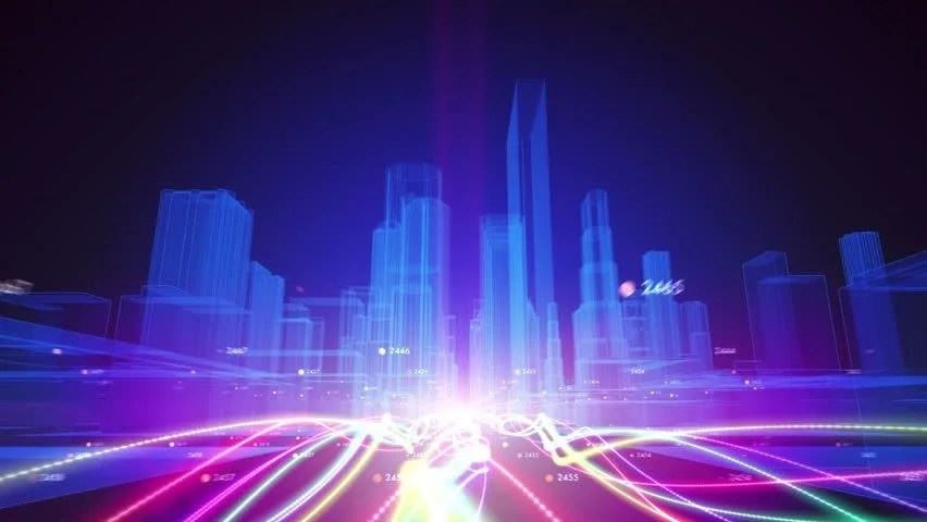 Matrix 3d Wallpaper Free Download Abstract Animation Of A Camera Moving Among Wireframe City