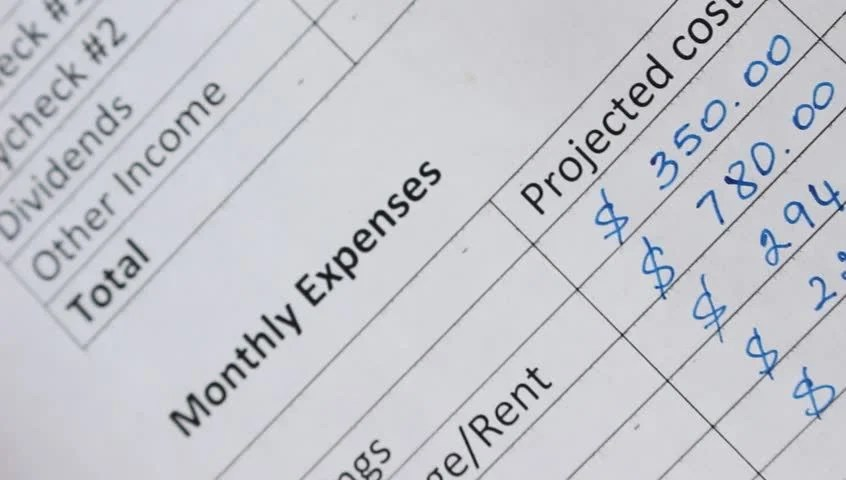 Family Monthly Income and Expenses Stock Footage Video (100
