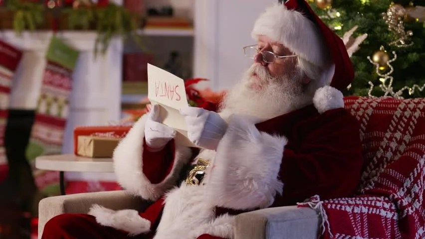 Santa Claus Reading Letter from Stock Footage Video (100 Royalty
