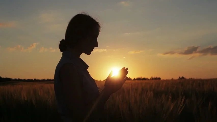 Indian Girl Wallpaper Young Woman Pray Hands Clasp Outdoor Summer Sunset Field
