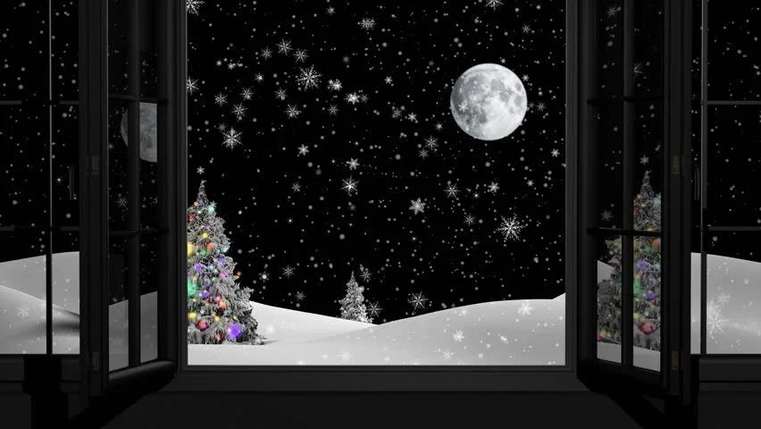 Paint Falling Wallpaper New Year Christmas 3d Winter Background And Moon Stock